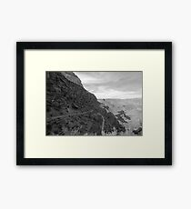South Kaibab Trail In The Grand Canyon - Fine Art Photo - black and white Framed Print