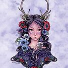 Dark Faun Girl with Flowers by Meredith Dillman