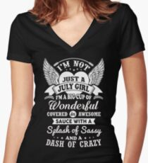 I'm Not Just A July Girl Women's Fitted V-Neck T-Shirt