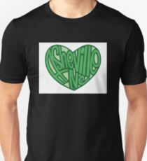 Asheville North Carolina Heart Green Unisex T-Shirt