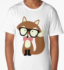 Red Bow Tie Hipster Fox Long T-Shirt