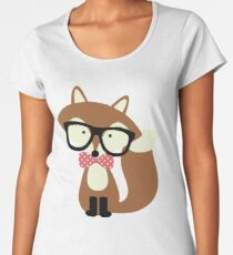 Red Bow Tie Hipster Fox Women's Premium T-Shirt
