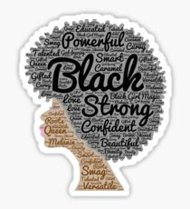 Black Woman Natural Hair Words In Afro Sticker