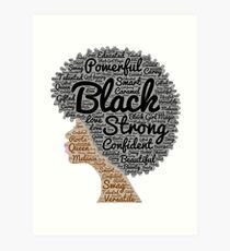 Lámina artística Mujer negra, pelo natural, palabras, en, Afro