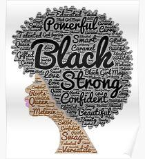 Natürliche Haar-Wörter der schwarzen Frau in Afro Poster