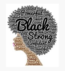 Black Woman Natural Hair Words In Afro Photographic Print