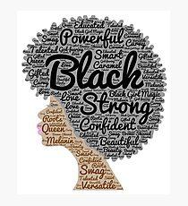 Natürliche Haar-Wörter der schwarzen Frau in Afro Fotodruck