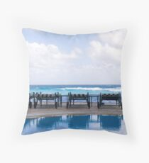 Four Chairs by the Sea Throw Pillow