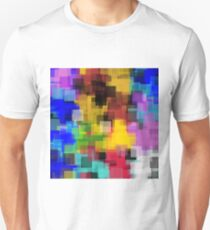 geometric square pattern painting abstract in yellow brown green pink blue Unisex T-Shirt