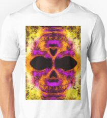 psychedelic angry skull portrait in pink orange yellow T-Shirt