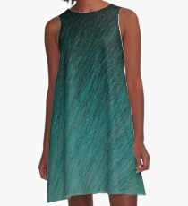 Cyan Falling through Night A-Line Dress