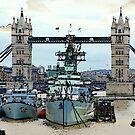 War Ship Belfast in London by Remo Kurka