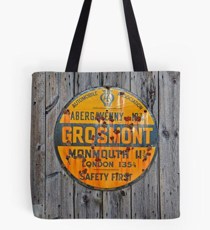 Grosmont - AA Abergavenny, old Enameled sign, Wales, Monmouthshire  Tote Bag