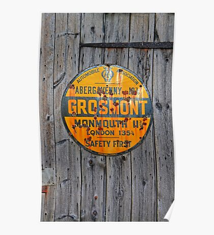 Grosmont - AA Abergavenny, old Enameled sign, Wales, Monmouthshire  Poster