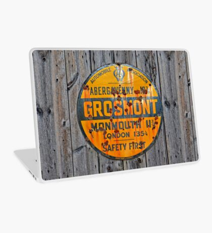 Grosmont - AA Abergavenny, old Enameled sign, Wales, Monmouthshire  Laptop Skin
