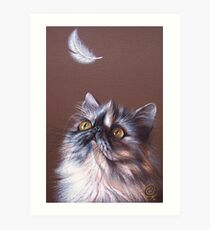 Cat & feather Art Print