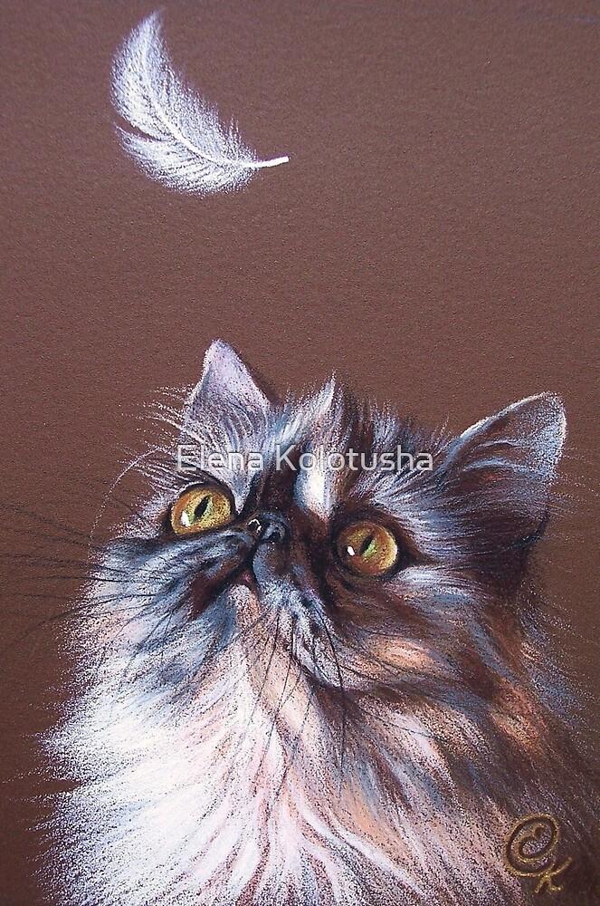 Cat & feather by Elena Kolotusha