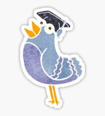 retro cartoon bird wearing graduation cap Sticker