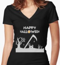 Happy Halloween - Spider Web - Graveyard - Bat Women's Fitted V-Neck T-Shirt