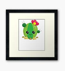 Cute Kawaii Cactus Emoji Framed Print