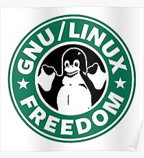 GNU Linux Freedom Green Poster
