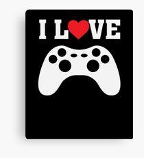 I Love Heart Games Gaming Game Nerd Gamer  Canvas Print