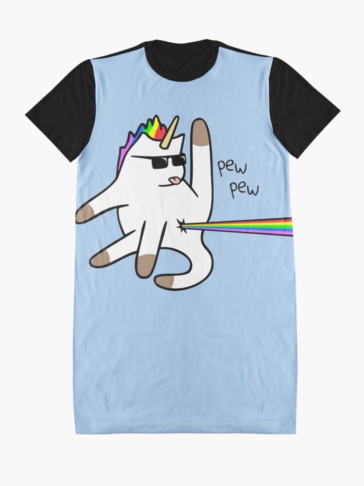Vista alternativa de Vestido camiseta Unicorn Cat Rainbow Butt Laser