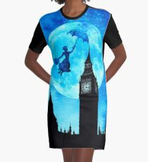 Magical Watercolor Night - Mary Poppins Graphic T-Shirt Dress