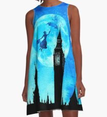 Magical Watercolor Night - Mary Poppins A-Line Dress