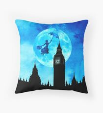 Magical Watercolor Night - Mary Poppins Throw Pillow