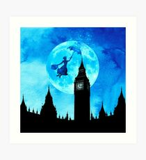 Magical Watercolor Night - Mary Poppins Art Print