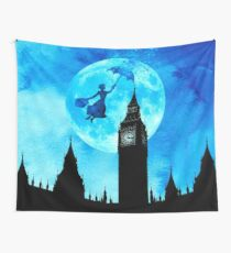 Magical Watercolor Night - Mary Poppins Wall Tapestry