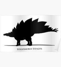 Stegosaurus dinosaur silhouette Poster