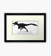 Deinonychus (Raptor) dinosaur silhouette Framed Print