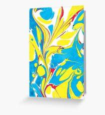 Ebru Marbling abstract art - Summer Sky Greeting Card