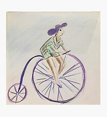 Vintage pin up cartoon penny farthing  Photographic Print
