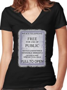 Police Telephone T-Shirt Women's Fitted V-Neck T-Shirt