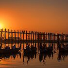 Myanmar. Taungthaman Lake. U Bein Bridge. Sunset. by vadim19