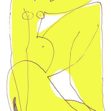 Yellow Nude with a Cat by jonhawley