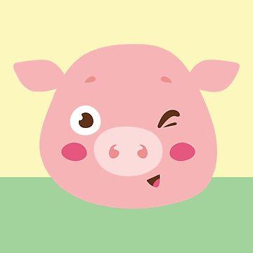 Cute Piggy Throw Pillow by 50Pxels