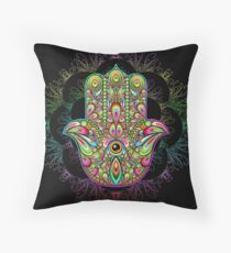 Hamsa Hand Psychedelic Amulet  Throw Pillow