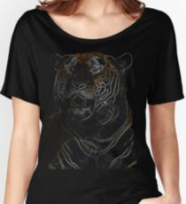 tiger, black shirt, colored tiger Women's Relaxed Fit T-Shirt