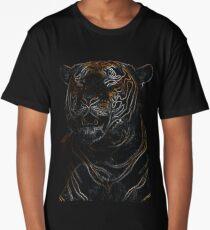 tiger, black shirt, colored tiger Long T-Shirt