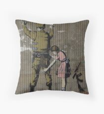 Knitted Banksy Girl and a Soldier Throw Pillow
