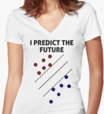 Support Vector Machine, Predict the Future Women's Fitted V-Neck T-Shirt