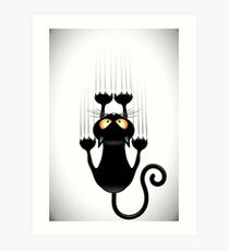Fun Cat Cartoon Scratching Wall Art Print