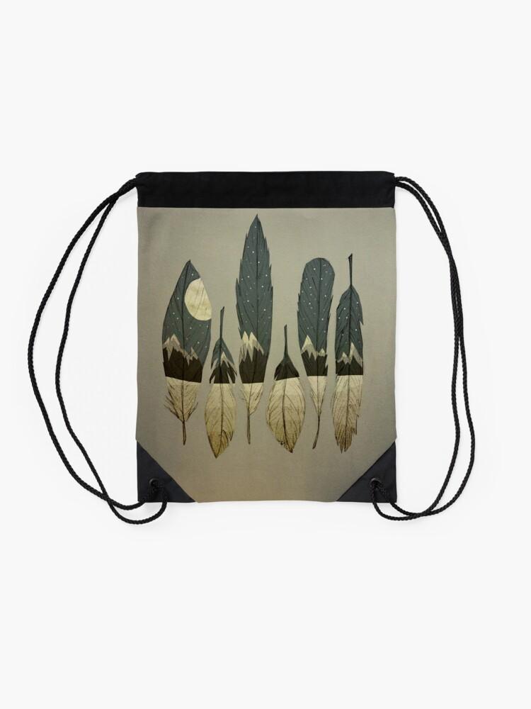 Alternate view of The Birds of Winter Drawstring Bag