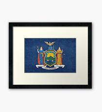 New York State Flag, vintage retro style Framed Print