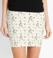 Horse with Cups and Rosettes Pattern Mini Skirt