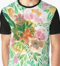 Flowers in Watercolor Painting Graphic T-Shirt